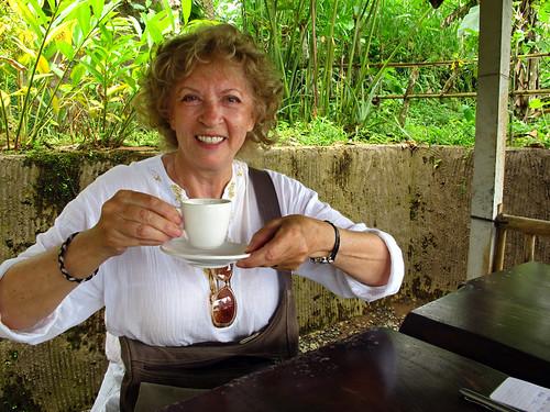Irene Drinking Luwak Coffee
