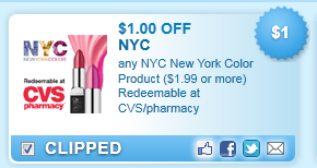 NYC New York Color Product ($1.99 Or More) Redeemable At Cvs\/pharmacy Coupon
