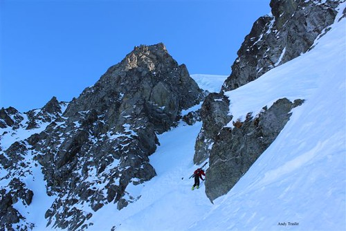 Dan traversing NW couloir