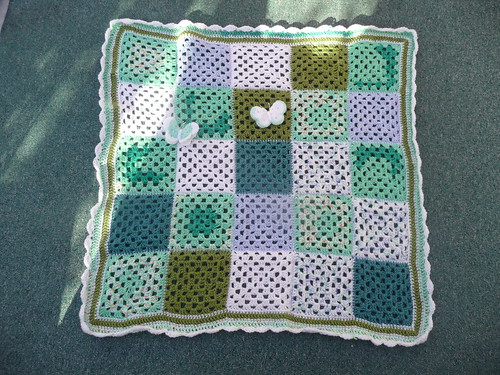 Butterflies were made by jean nock and the Blanket was made beautifully too by Ginnyknit!