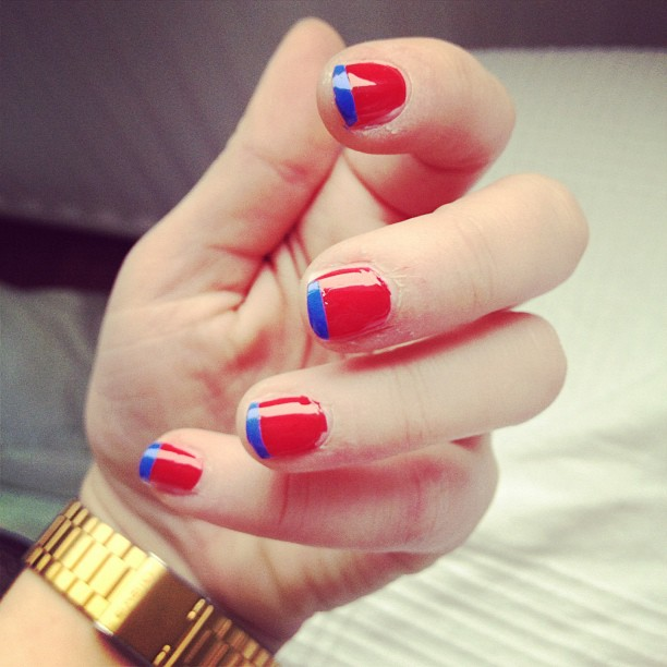 #nails #nailpolish #red #blue #frenchmanicure #colourblock