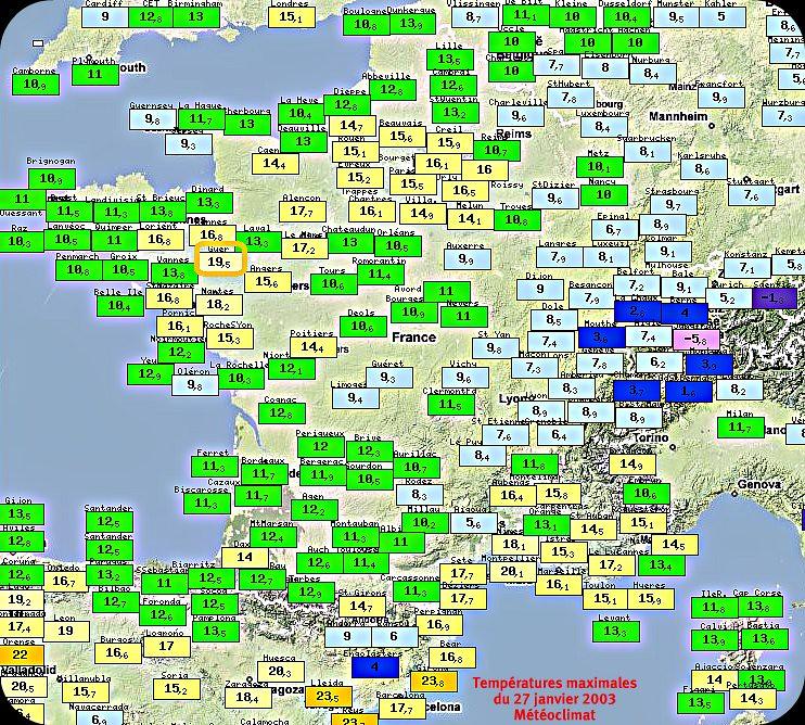 températures maximales du 27 janvier 2003 grande douceur météopassion