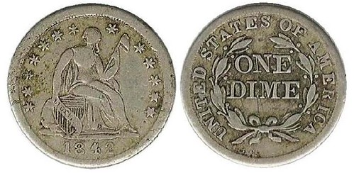 Counterfeit 1842 Dime