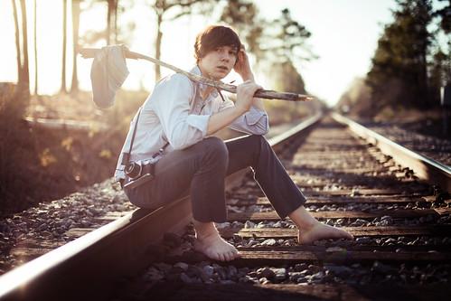 [フリー画像素材] 人物, 男性, 鉄道・線路 ID:201203081600