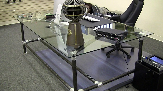 Diy Pipe Desk With A Glass Top Simplified Building