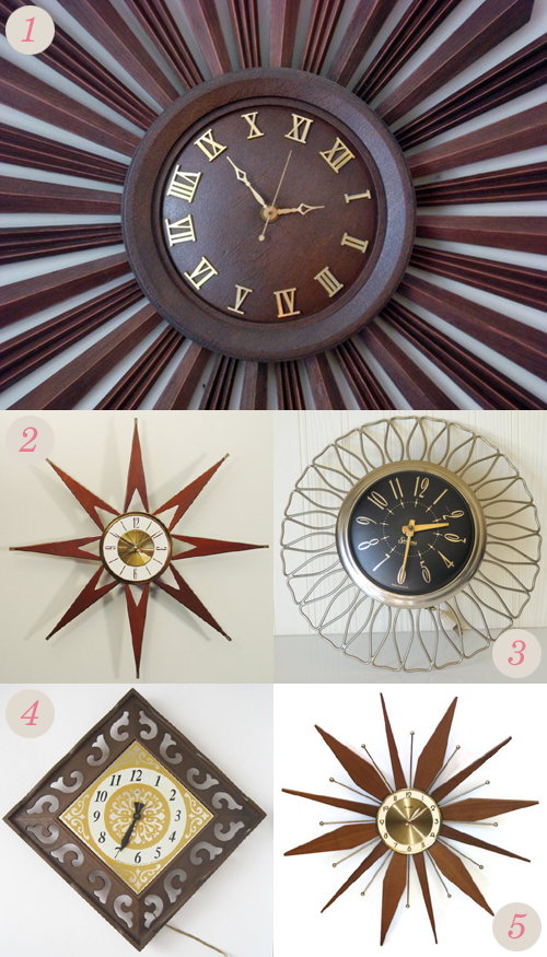 Vintage starburst style clocks from Etsy | Emma Lamb