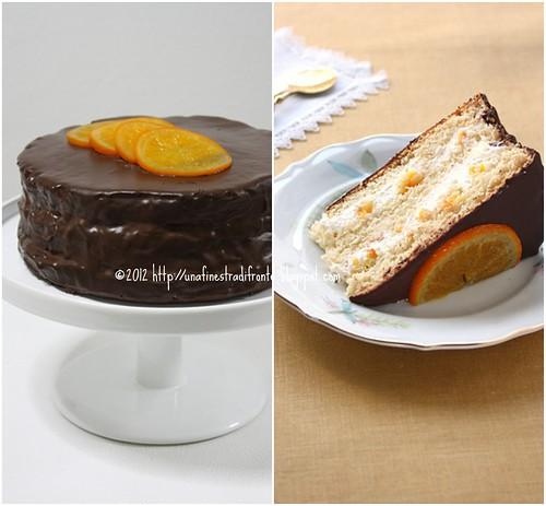 Torta con arance caramellate e glassa di cioccolato