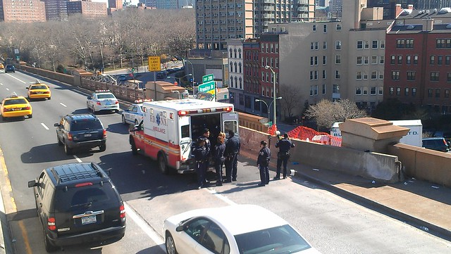 NYPD and FDNY load a jumper / EDP into an ambulance on the Brooklyn Bridge