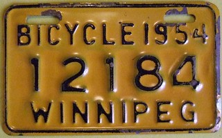 WINNIPEG MANITOBA 1954 ---BICYCLE PLATE