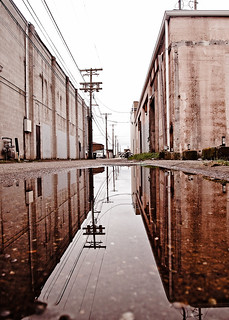 Urban alley reflected