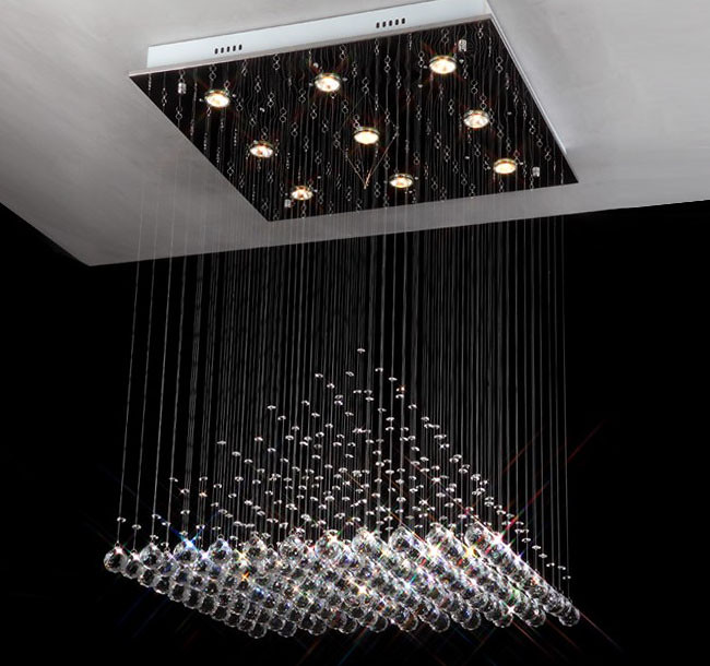 Modern Square Crystal Pendant Lamp Lights Rain Drop