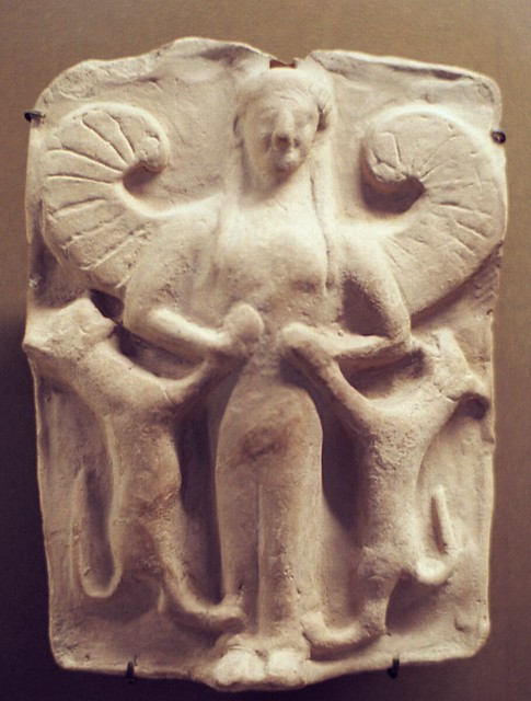 Winged Artemis with lions, small terracotta from Tarentos or Locrae, Musée de Paris, Louvre