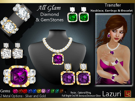Lazuri All Glam Diamond & Gemstones - Complete Set, 500 lindens by Cherokeeh Asteria