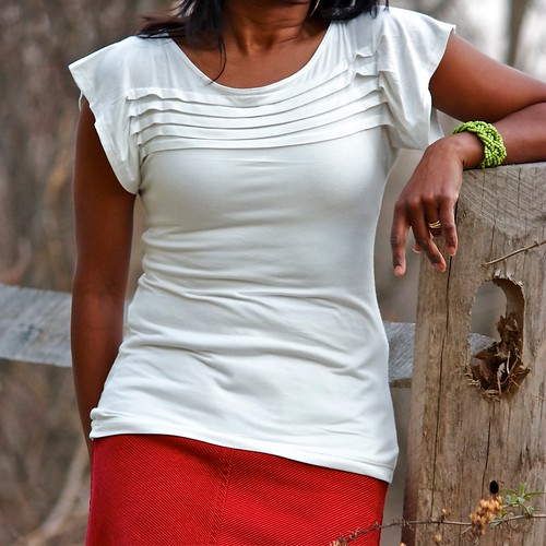 Simple White Pleats Top