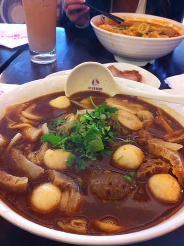 Udon, Fish balls, pork skin in Szechaun Broth. Cattle Cafe, RIchmond BC