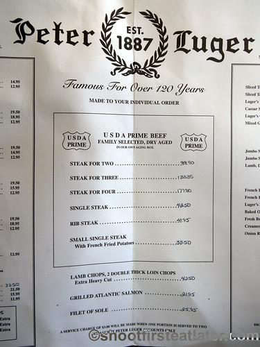 menu - Picture of Peter Luger Steak House, Brooklyn - TripAdvisor