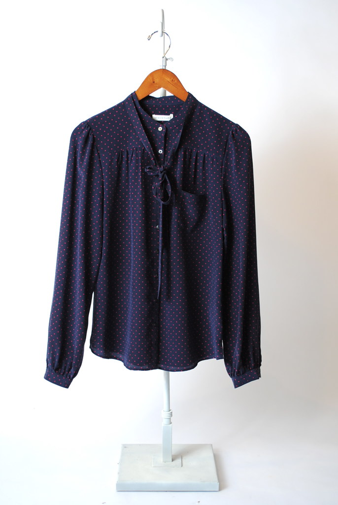 Triangle Spot Tie Neck Blouse