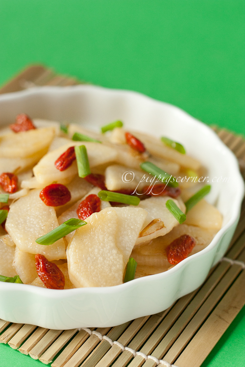 Wild Yam with Goji Berries Stir-Fry 枸杞炒山药