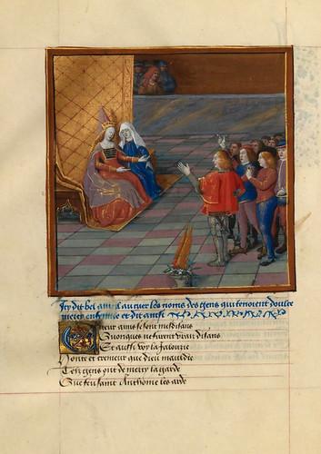 011-Piedad exhorta a Dulce Gracia a amar al Corazon Enamorado-fol 129v-Le livre du Coeur d'amour épris, par le roi René d'Anjou-1460-BNF
