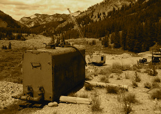 Water tank at a marginal placer gold mining operation, Yankee Fork, Challis NF ID