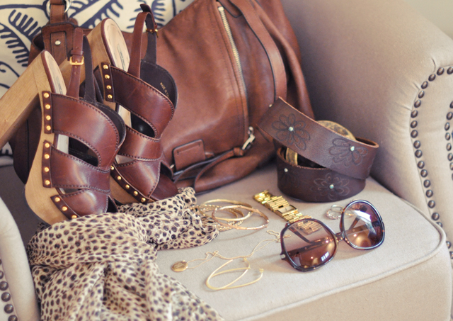 brown leather accessories- gold jewelry-leopard scarf-sunglasses