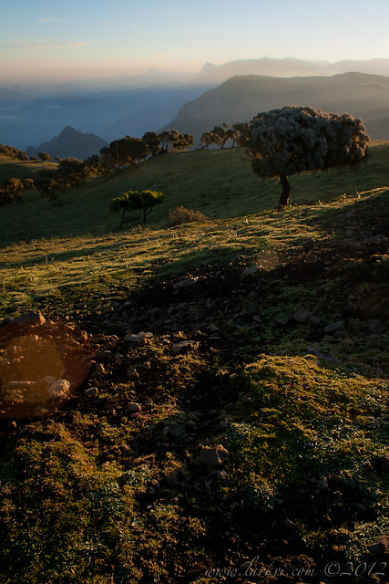 Sunrise #2 on the Trail from Buyit Ras to Sankaber, Simien Mountains National Park, Ethiopia, 2007