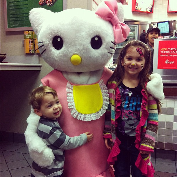 Emma & Aaron met a celebrity tonight!! :) #HelloKitty #kids