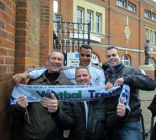 Jacob Ruyter, Ludo Huitema en Henk Bos, Fullham-Swansea