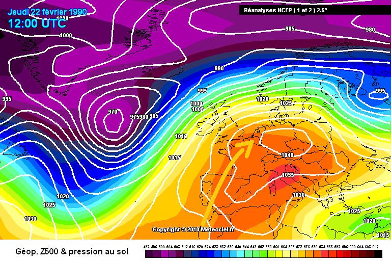 carte de situation lors de la vague de chaleur fin février 1990 météopassion