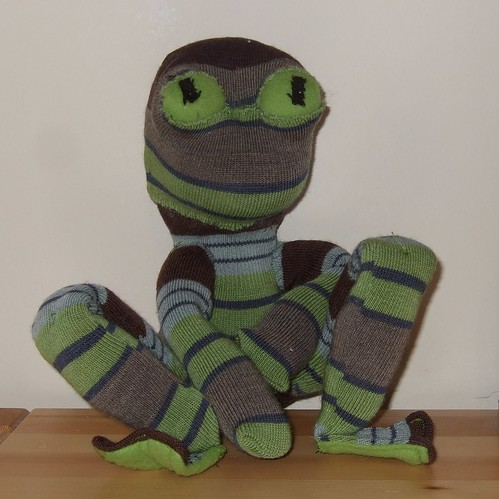 Upcycled sock frog