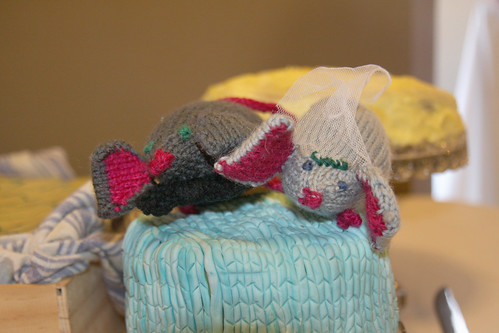 I knitted our cake toppers which were a pair of adorable toy mice in a veil