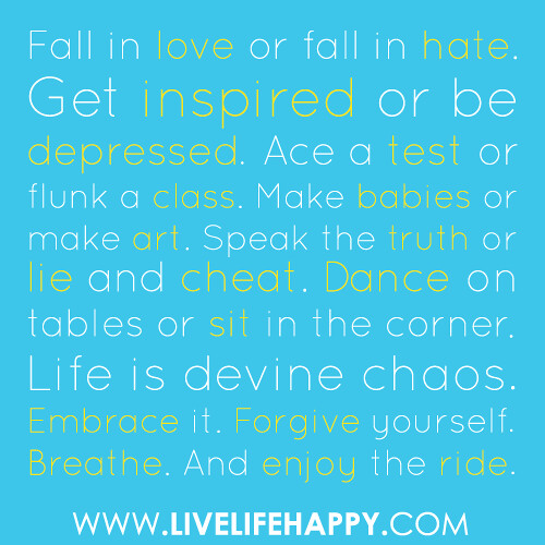 """Fall in love or fall in hate. Get inspired or be depressed. Ace a test or flunk a class. Make babies or make art. Speak the truth or lie and cheat. Dance on tables or sit in the corner. Life is devine chaos. Embrace it. Forgive yourself. Breathe. And enj"
