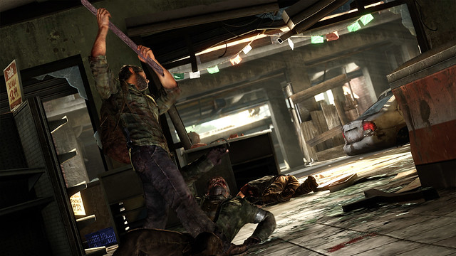 Joel uses weapon as plank