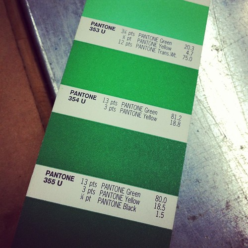 Mixing shamrock green ink for the march design of our monthly type card.