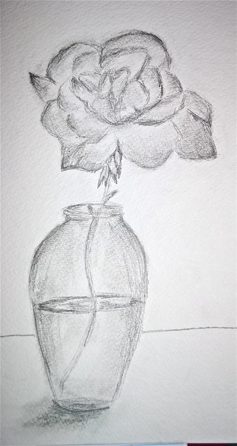 How To Draw Vase Of Roses