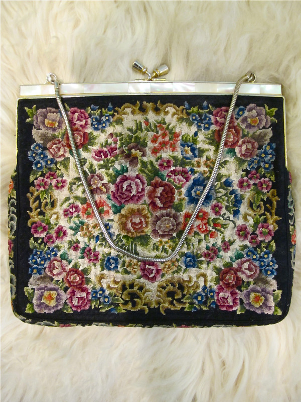 Pretty needlepoint evening purse with mother-of-pearl accents