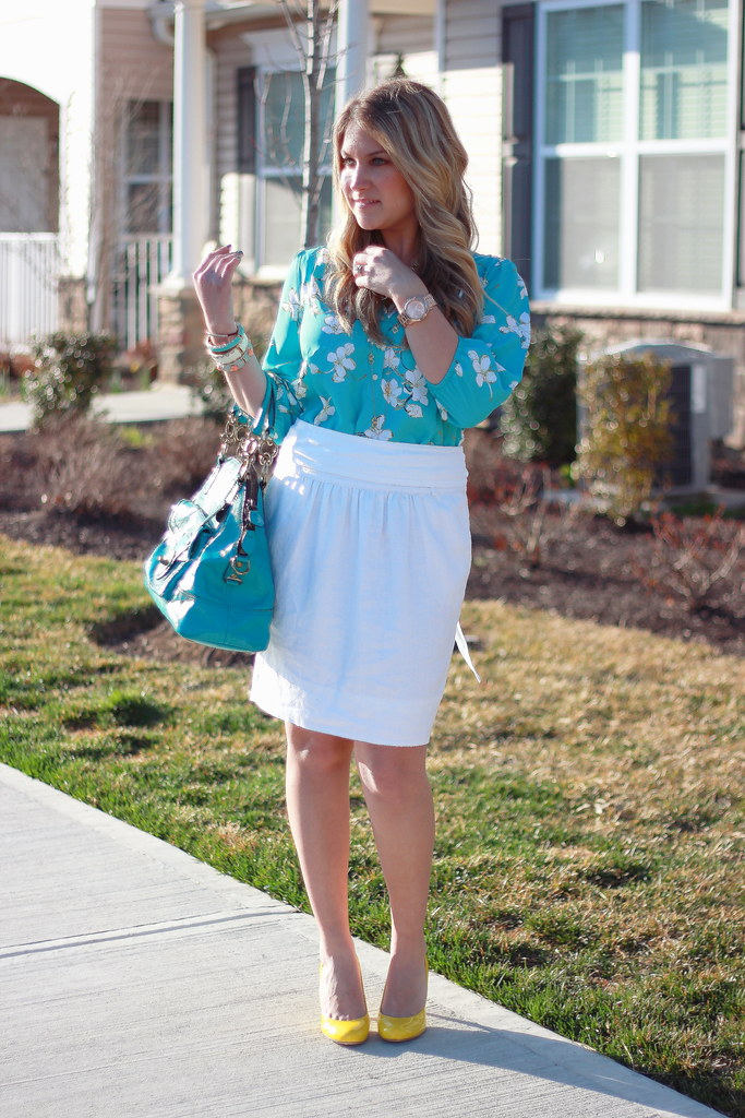 Turquoise floral blouse