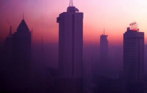 china city morning sunrise skyscrapers vivid pollution environment liaoning