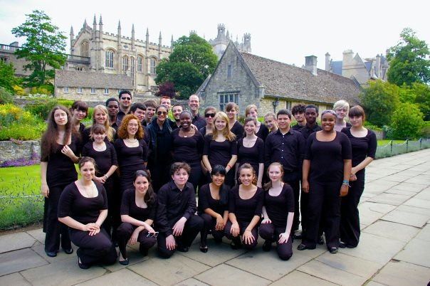 Berkeley Carroll School Choir in front of Christ Church Cathedral in Oxford, England