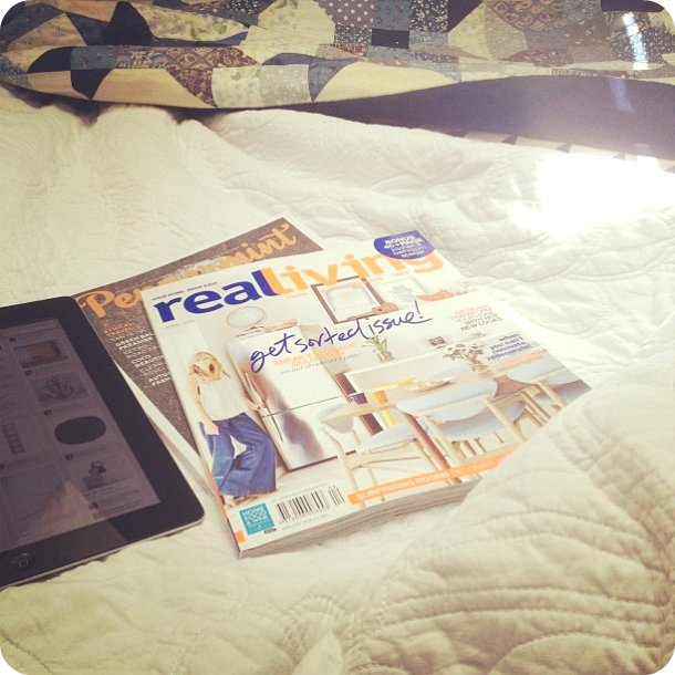 Bed. Magazine. iPad