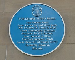 Photo of Yorkshire Penny Bank, George Bertram Bulmer, and Leeds General Infirmary blue plaque