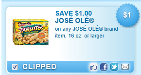 Jose Ole Brand Item, 16 Oz. Or Larger Coupon