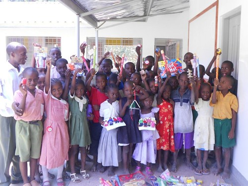 School receiving dontated gifts
