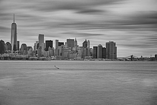 Lower Manhattan and Brooklyn Bridge from Liberty State Park