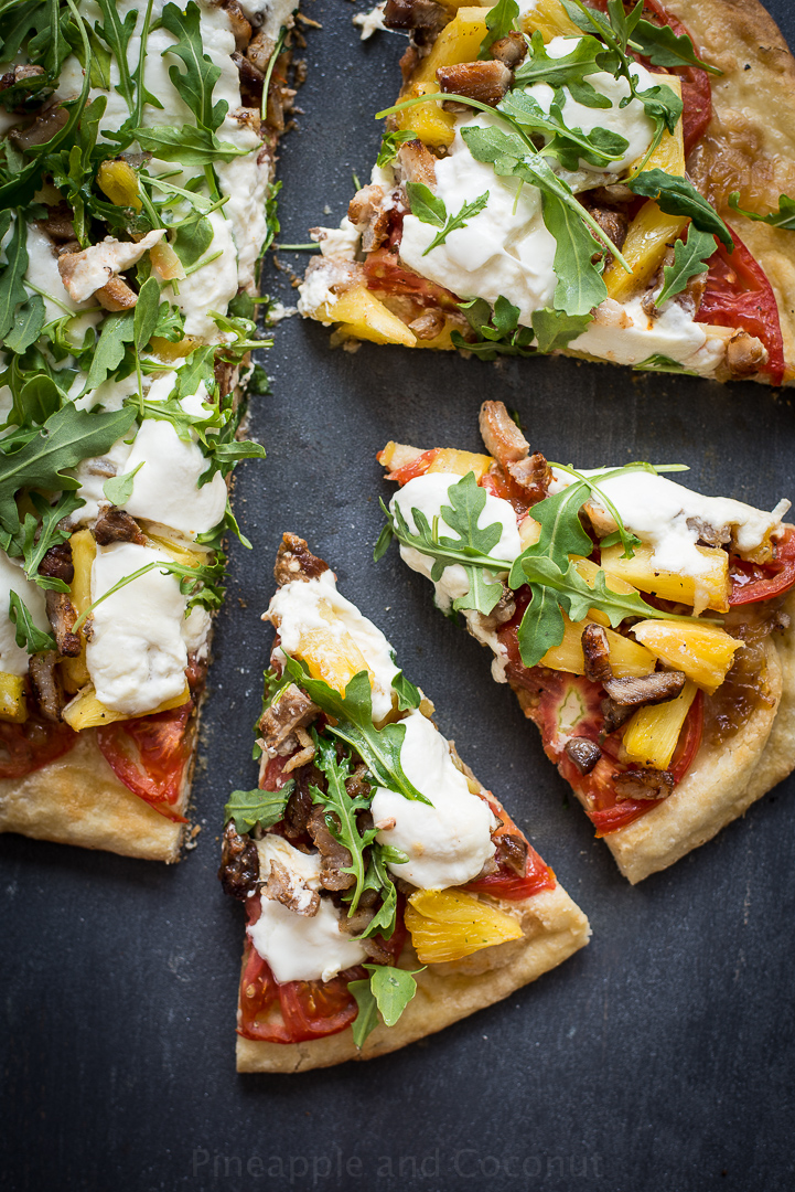 13753176204 8d199b9aed o Grilled Pineapple, Crispy Pork Belly, Burrata and Arugula Pizza.