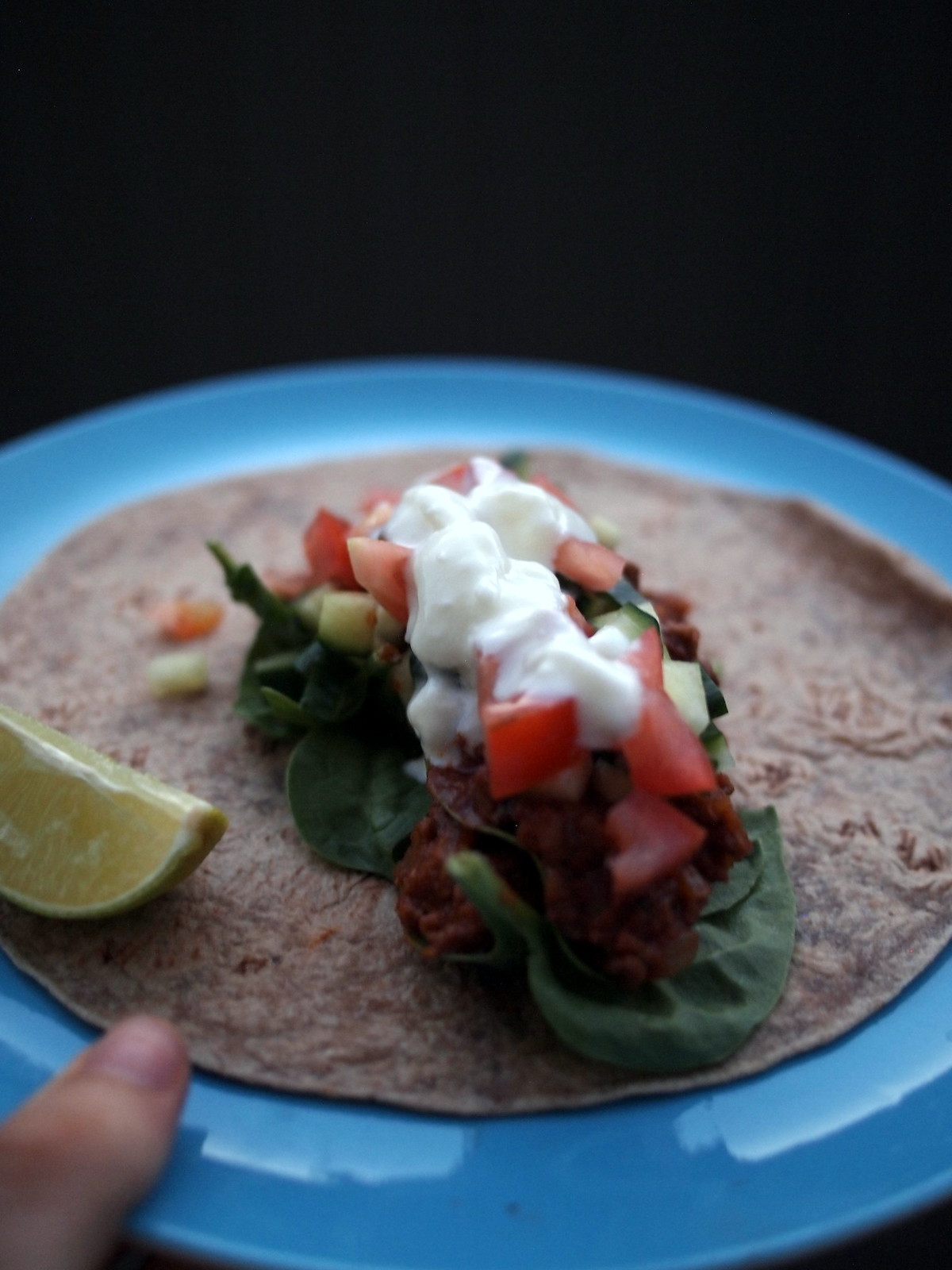 Beef chilli and beans burrito