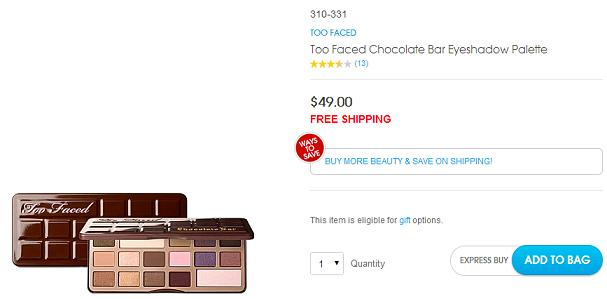 Chocolate Bar Eyeshadow Palette Too Faced HSN Code Coupon Discount