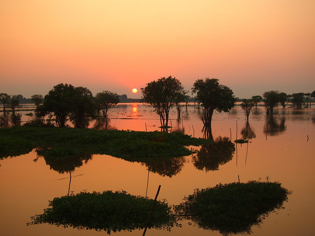Sunset at Tonle Sap Lake in Cambodia