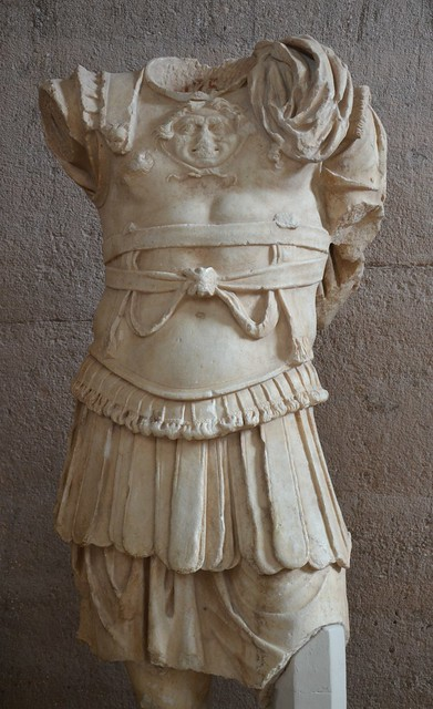 Statue of a man in armor, from the Julian Basilica, 40–52 AD, Archaeological Museum of Ancient Corinth, Greece