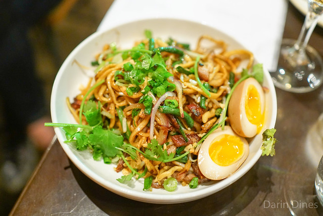 pan fried e-fu noodle, confit shredded pork, long beans & tea egg